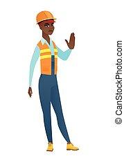 african-american, constructeur, arrêt, main, projection, geste