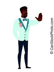 african-american, projection, palefrenier, arrêt, gesture., main