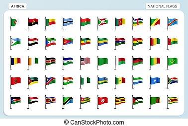 afrique, national, drapeaux