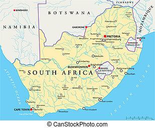 afrique, politique, sud, carte