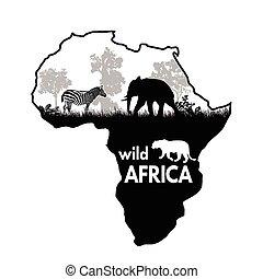 afrique, sauvage, affiche