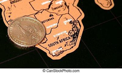 afrique, voyage, sud, dollar, égratignure, monnaie, rotation, blogger, carte, or, une
