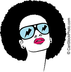 afro, femme, lunettes soleil