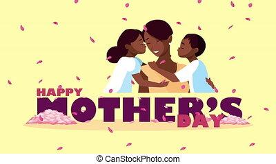 afro, jour, maman, heureux, enfants, mères, lettrage