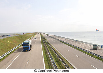 (afsluitdijk), a7, pays-bas, chaussée, autoroute, célèbre