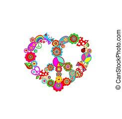 agaric, paisley, impression, découpage, t-shirt, forme, conception, mode, hippie, coeur, symbole, arc-en-ciel, papier, mouche, flower-power, rigolote, papillons, sac, paix, coloré