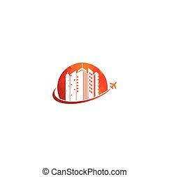 agence, logo, voyage, conception