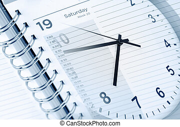 agenda, horloge