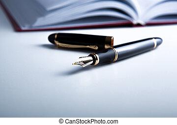 agenda, stylo, fontaine, bureau