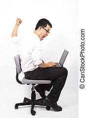 agent affaires fâché, accident informatique