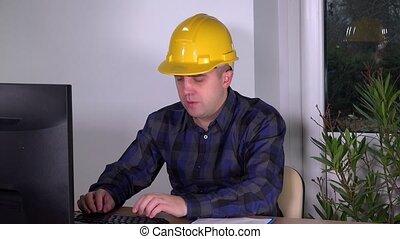 agent immobilier, surveillant, bureau, réussi, travail, construction, informatique