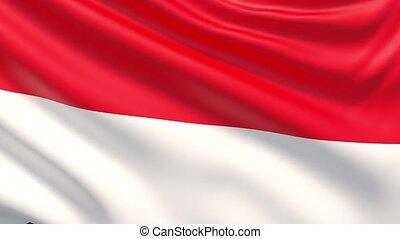 agité, détaillé, indonesia., tissu, hautement, drapeau, texture.