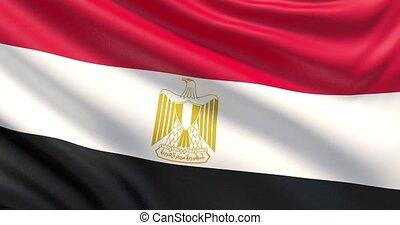 agité, détaillé, tissu, egypt., drapeau, hautement, texture.