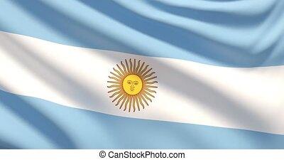 agité, détaillé, tissu, hautement, drapeau, argentina., texture.