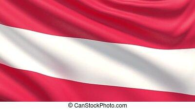 agité, détaillé, tissu, hautement, drapeau, austria., texture.
