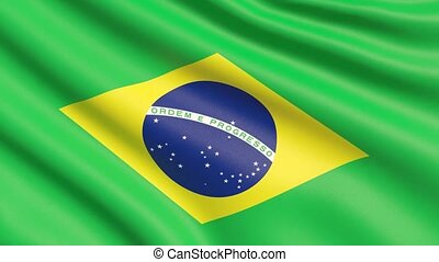 agité, détaillé, tissu, hautement, drapeau, brazil., texture.