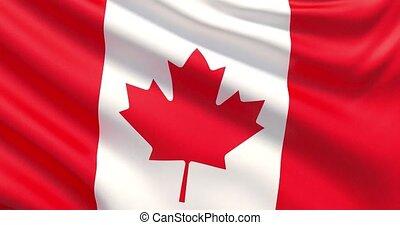 agité, détaillé, tissu, hautement, drapeau, canada., texture.