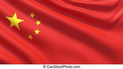 agité, détaillé, tissu, hautement, drapeau, china., texture.
