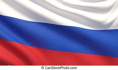 agité, détaillé, tissu, hautement, drapeau, russia., texture.