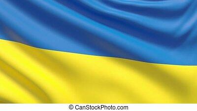agité, détaillé, tissu, hautement, drapeau, ukraine., texture.