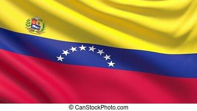 agité, détaillé, tissu, hautement, drapeau, venezuela., texture.