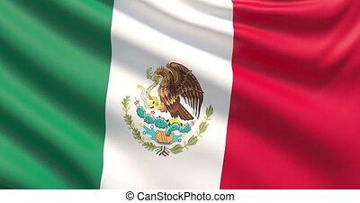 agité, détaillé, tissu, mexico., hautement, drapeau, texture.
