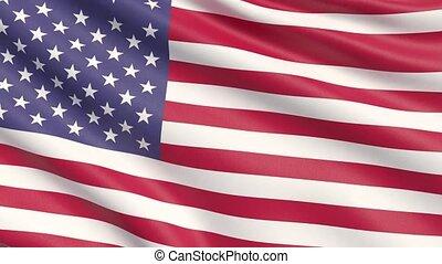 agité, détaillé, uni, tissu, drapeau, hautement, etats, america., texture.