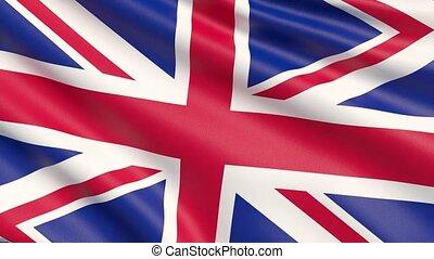 agité, détaillé, uni, tissu, hautement, drapeau, kingdom., texture.