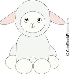 agneau, dessin animé, attachez art, mignon