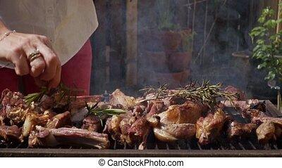 agneau, gril, viande, flammes, 10, romarin, hd