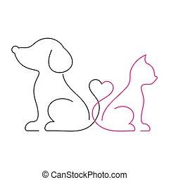 agréable, mince, chat, ligne, chien, icônes