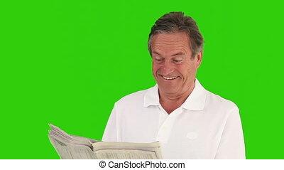 agréable, nouvelles, lecture, artical, papier, homme, retiré
