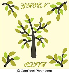 agrafe, graphic., arbre, vecteur, vert, art., olive.