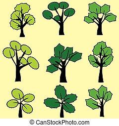 agrafe, résumé, arbre, vecteur, vert, graphic., art.