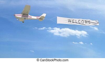 agrafe, sky., accueil, sous-titre, remorquage, 4k, hélice, petit avion, bannière