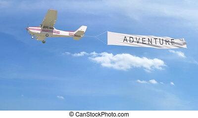 agrafe, sky., sous-titre, remorquage, aventure, hélice, petit avion, bannière, 4k