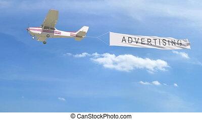 agrafe, sky., sous-titre, remorquage, publicité, hélice, petit avion, bannière, 4k