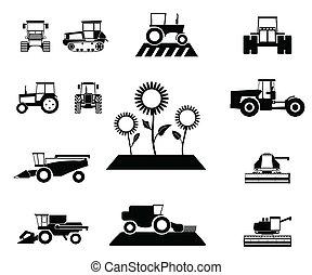 agricole, vecteur, ensemble, véhicules