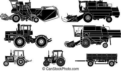 agricole, vecteur, véhicules
