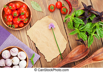 agriculteurs, bois, frais, basilic, table, tomates