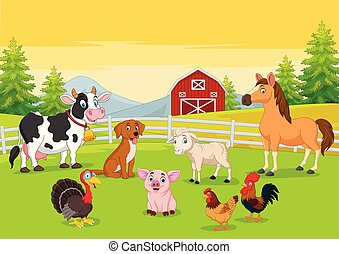 agriculture, dessin animé, fond, animaux, ferme