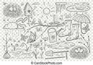 agriculture, griffonnage, printemps, ensemble