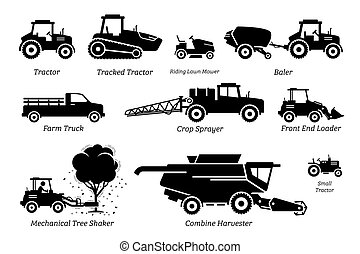 agriculture, tracteurs, agriculture, liste, véhicules, machines., camions