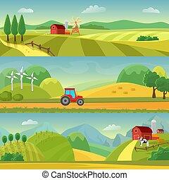 agrobusiness, vecteur, collines, champs, web., farm., agriculture., infographic, conception, rural, agriculture, paysage, templates.