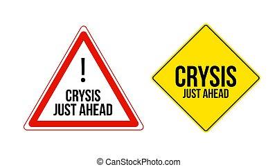 ahead., signes, isolé, ensemble, avertissement, blanc, juste, crysis