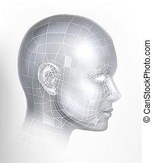 ai, 3d, technologie, figure, cyber, technologie, numérique, tête
