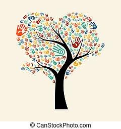 aide, arbre, illustration, main, divers, équipe