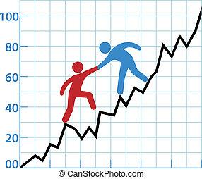 aide, business, rentabilité, diagramme, personne, encre, rouges