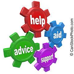 aide, conseil, engrenages, mots, aide, soutien, 4