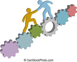 aide, gens, solution, technologie, trouver, 3d